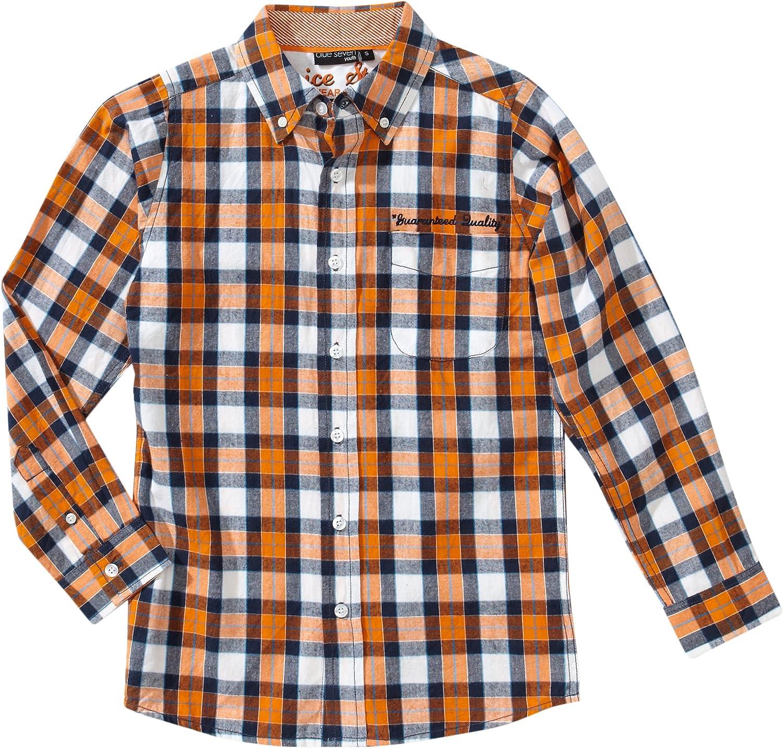 blue seven - Camisa con Cuello Mao de Manga Larga para niño ...
