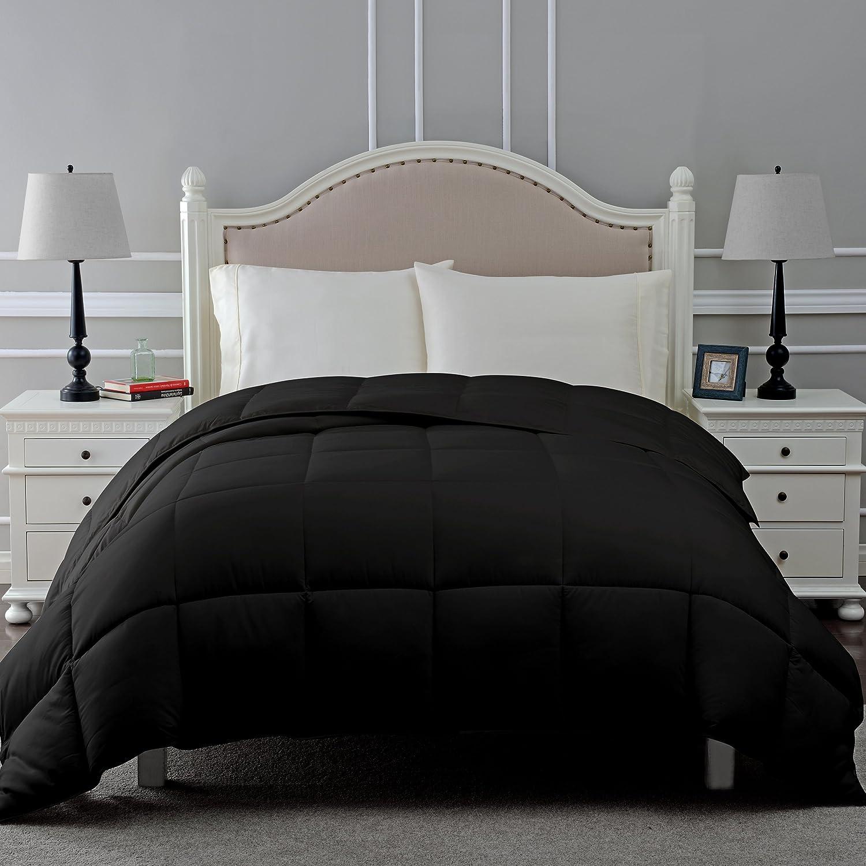 Blue Nile Mills Hypoallergenic Down Alternative Classic Comforter, King, Black