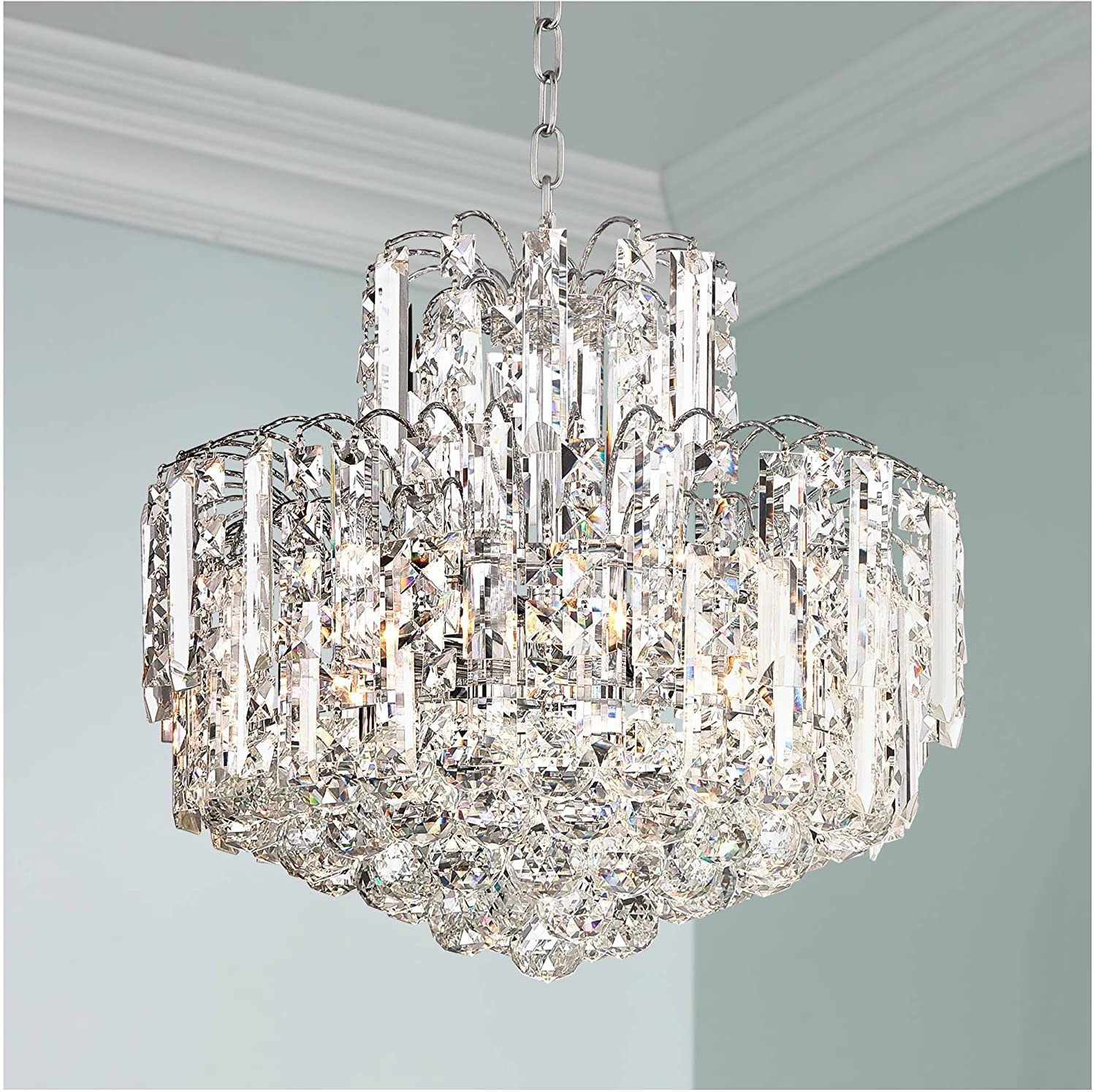 """Leya Chrome Chandelier 18"""" Wide Clear Crystal Glass Fixture for Dining Room House Foyer Kitchen Island Entryway Bedroom - Vienna Full Spectrum"""
