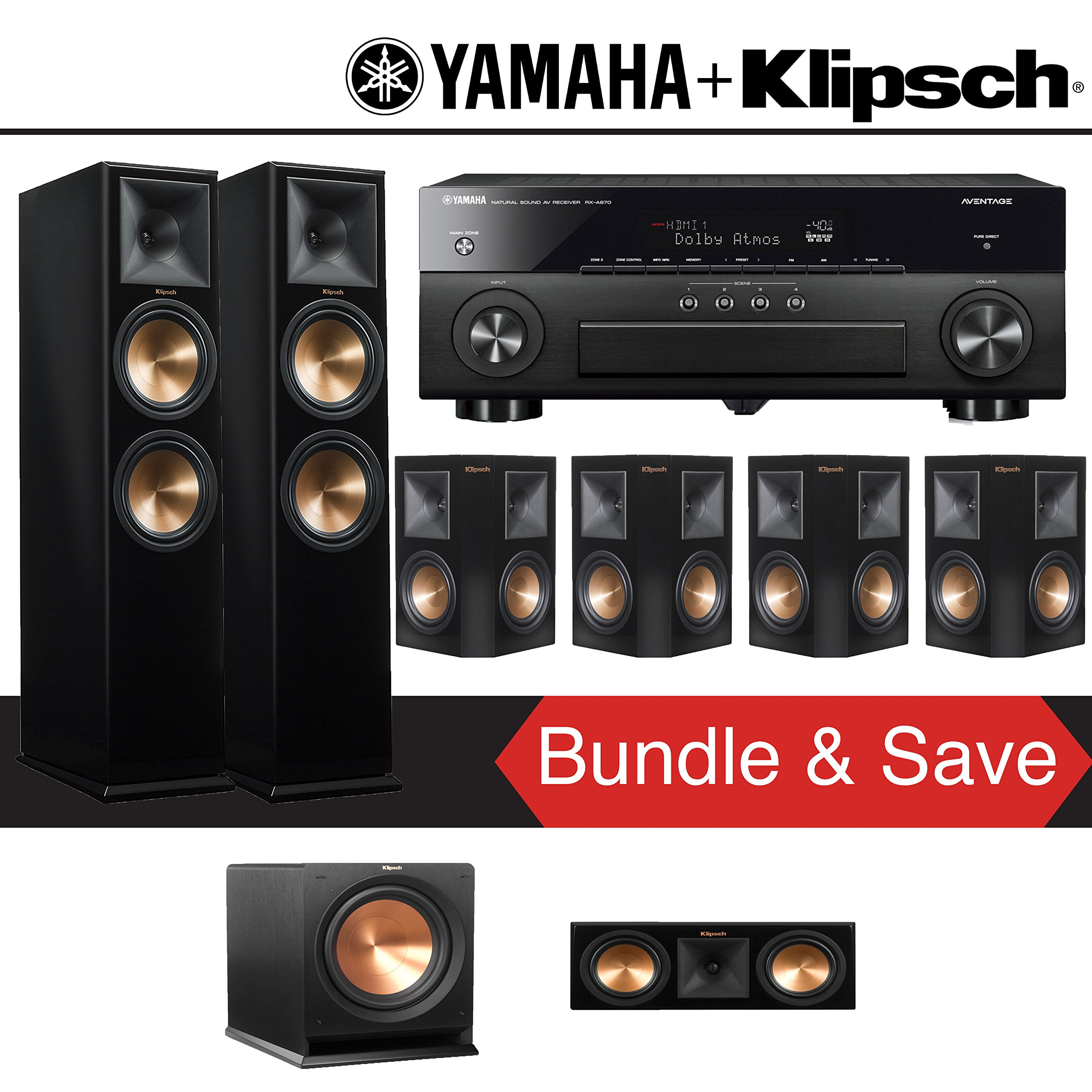 Klipsch RP-280F 7.1-Ch Reference Premiere Home Theater System (Piano Black) with Yamaha AVENTAGE RX-A870BL 7.2-Channel Network A/V Receiver by Klipsch