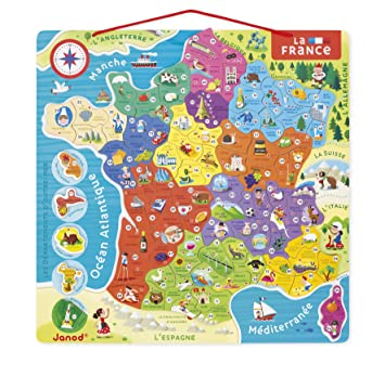 Map Of France Jura.Janod Jura Toys J05480 Magnetic French Map Amazon Co Uk Toys Games