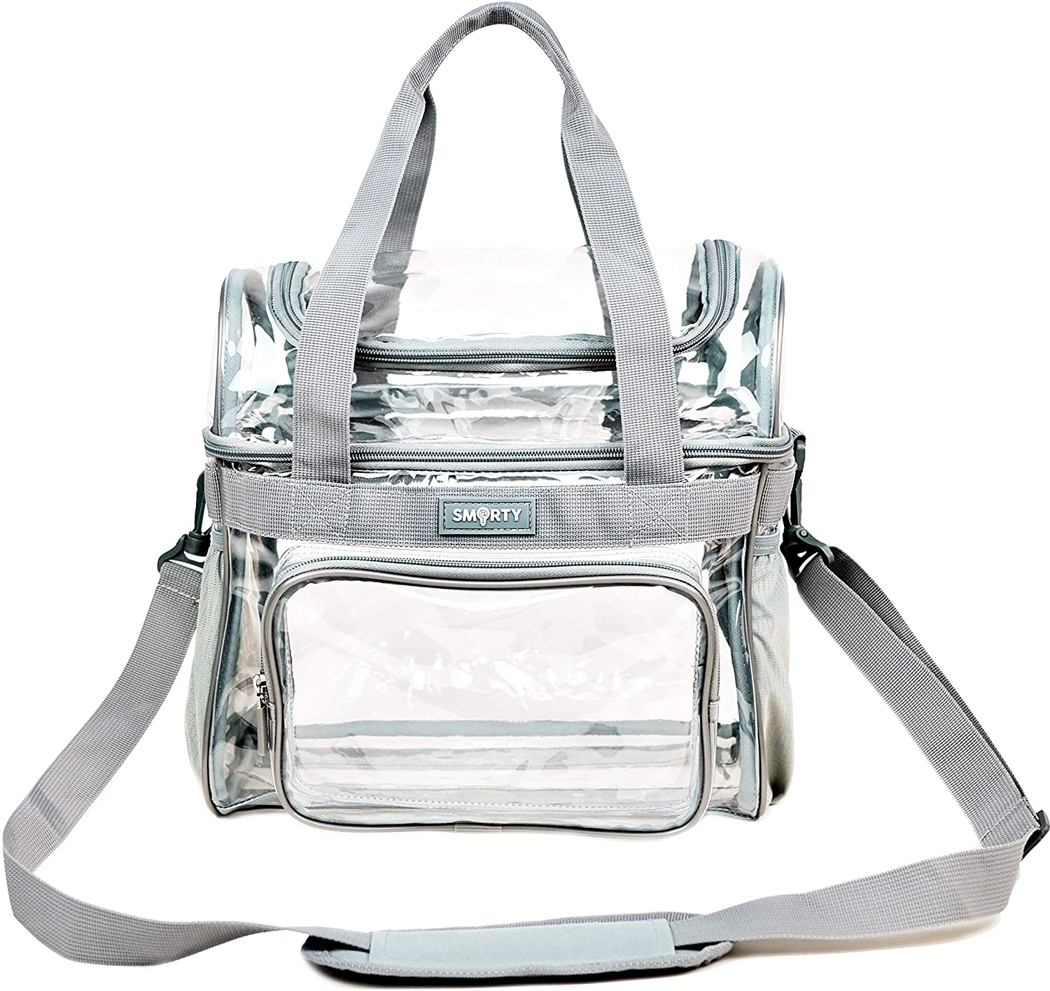 SMARTY Heavy Duty Clear Lunch Tote Stadium Bag Correctional Officers Approved Crossbody Diaper Travel Makeup Cosmetic Bag for Work NFL Football NCAA Basketball PGA NASCAR Concerts (Gray, 12 x 6 x 12)