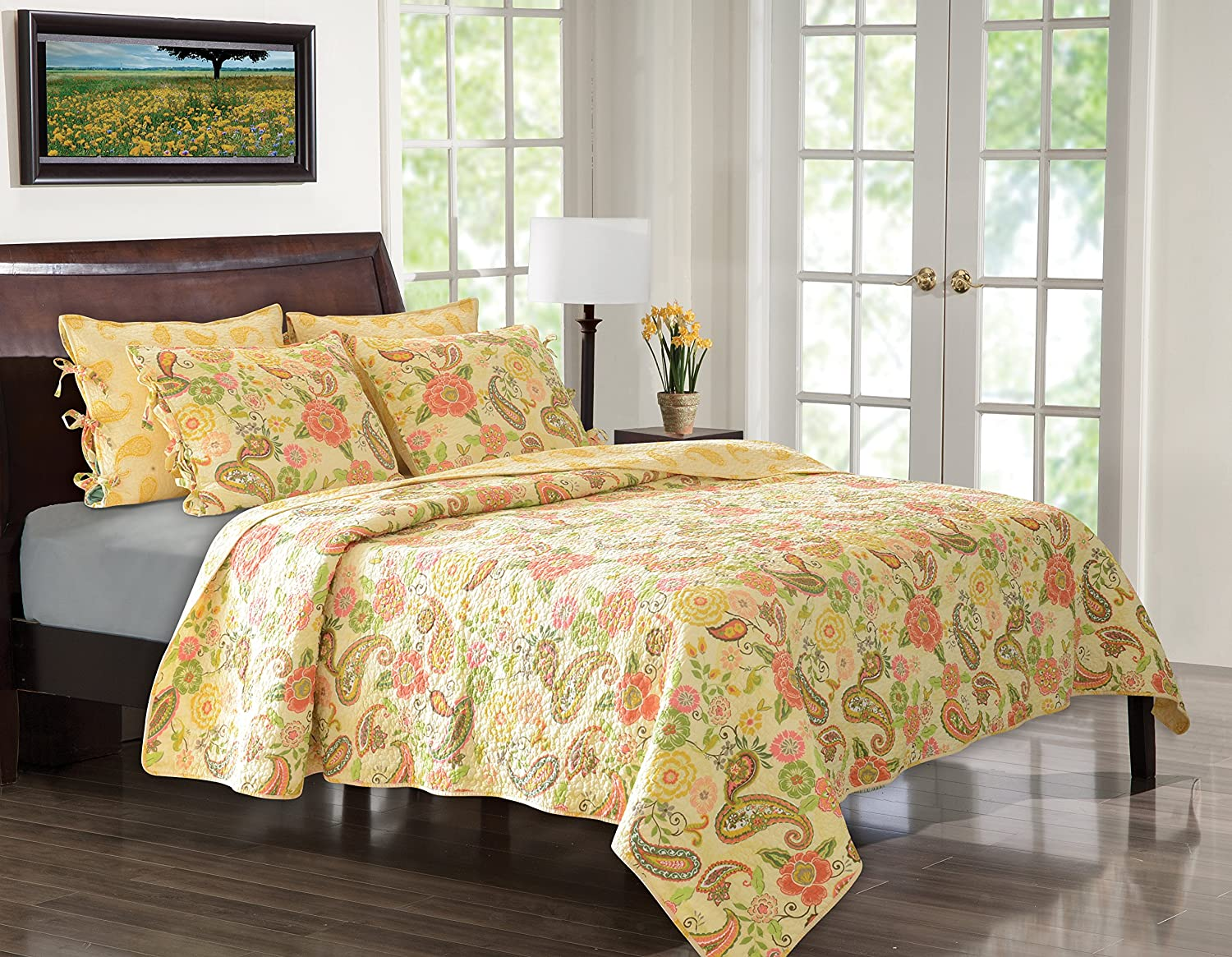 Greenland Home Sunset Paisley Quilt Set, King