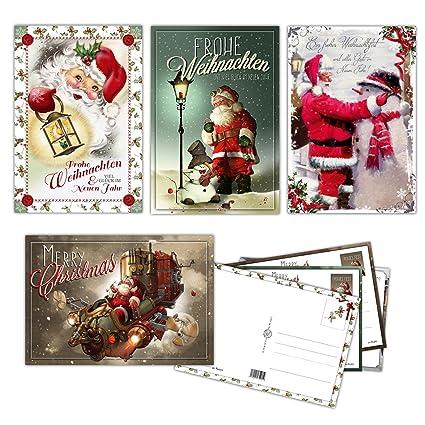 Weihnachtskarten Beschriften Kostenlos.20 Vintage Weihnachtskarten Postkarten Im Retro Stil Weihnachtspostkarten 12x17 5 Cm 4 Versch Designs