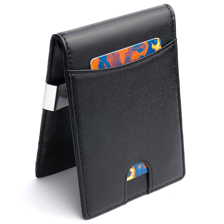Premium Geldbörse mit Geldklammer und Münzfach – RFID/NFC Schutz – Schlankes Portemonnaie mit Geldscheinklammer und Kleingeldfach – Geldclip & Kartenetui - Kleiner dünner Geldbeutel in schwarz