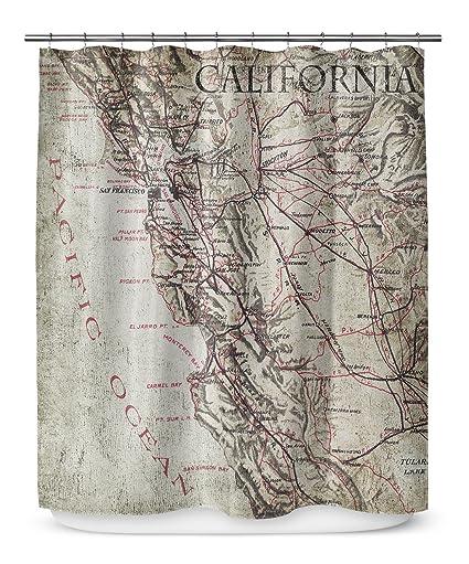 Amazon KAVKA Designs California Shower Curtain Taupe Tan Grey