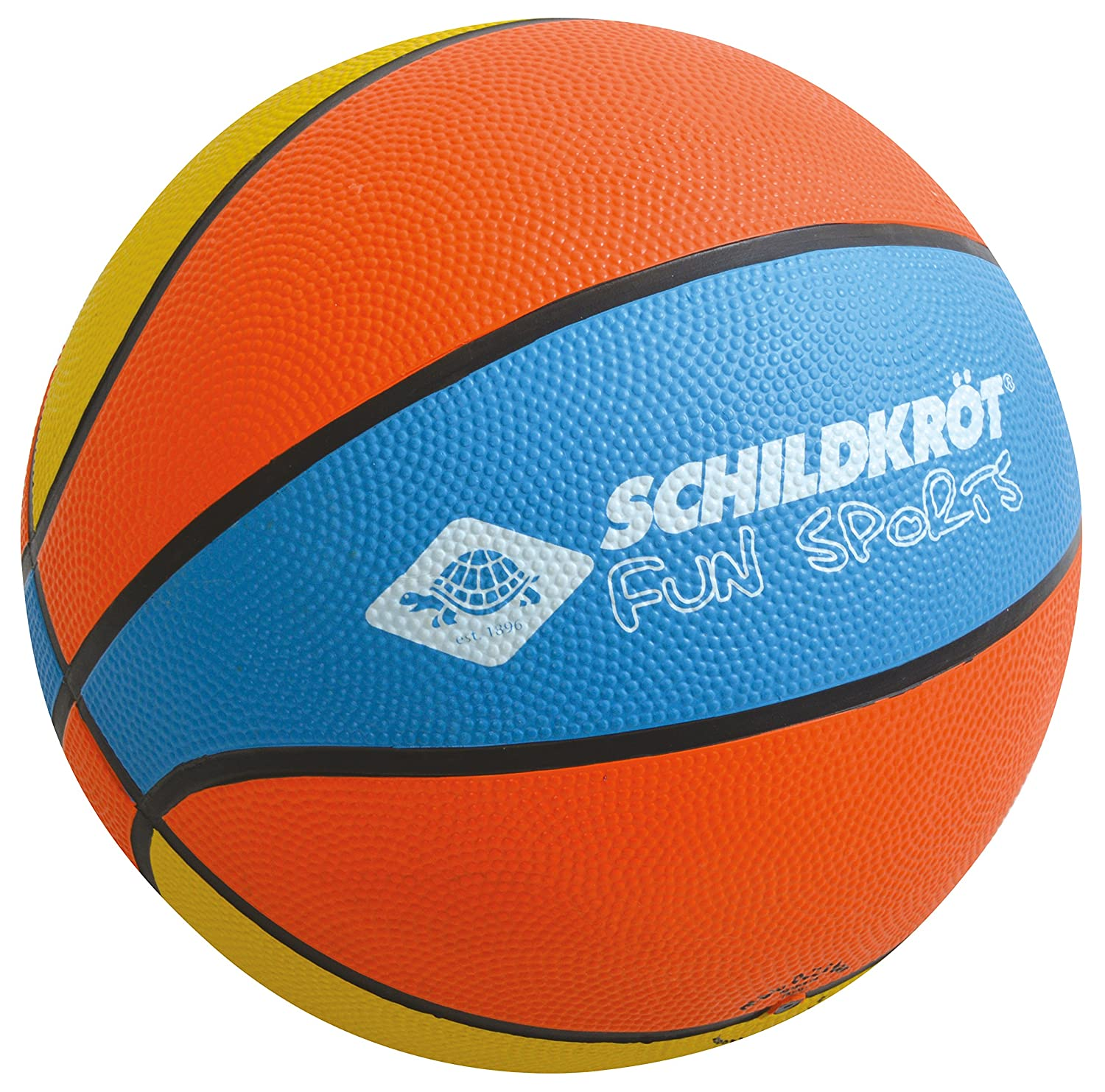 Schildkröt Funsports 2287987 Ballon de Basketball Mixte Enfant, Orange/Bleu/Jaune, Taille 5