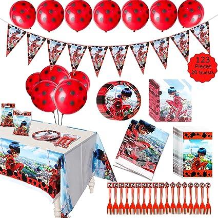 Amazon.com: GROBRO7 123Pack Ladybug temática suministros de ...
