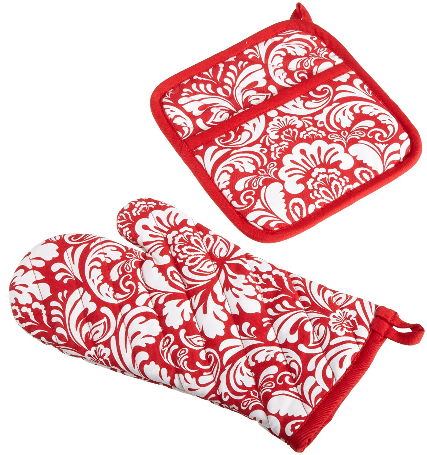 "DII Cotton Damask Oven Mitt 12 x 6.5"" and Pot Holder 8.5 x 8"" Kitchen Gift Set, Machine Washable and Heat Resistant for Cooking and Baking-Red"