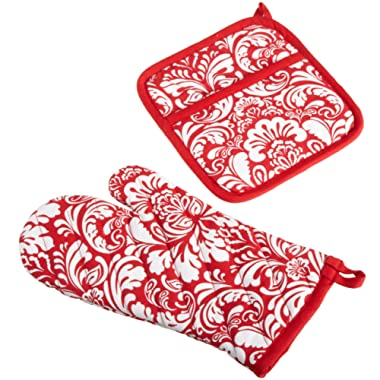 DII Cotton Damask Oven Mitt 12 x 6.5  and Pot Holder 8.5 x 8  Kitchen Gift Set, Machine Washable and Heat Resistant for Cooking and Baking-Red