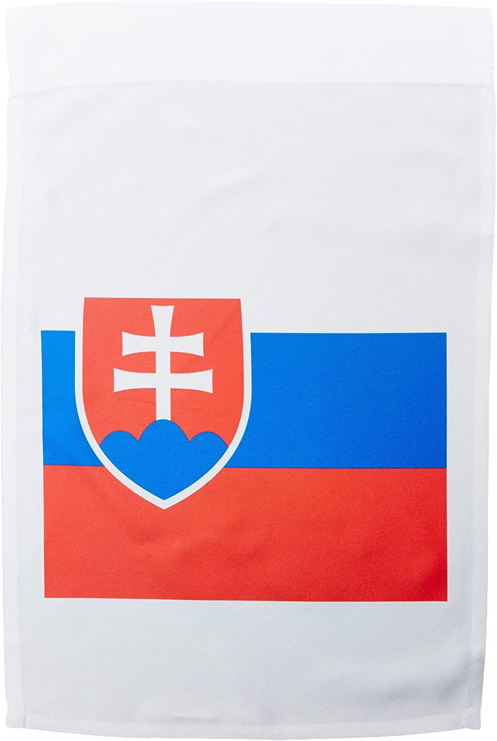3dRose fl_158429_1 Flag of Slovakia-Slovak White Blue Red Stripes-Shield Coat of Arms Double Cross. Eastern Europe Garden Flag, 12 by 18-Inch