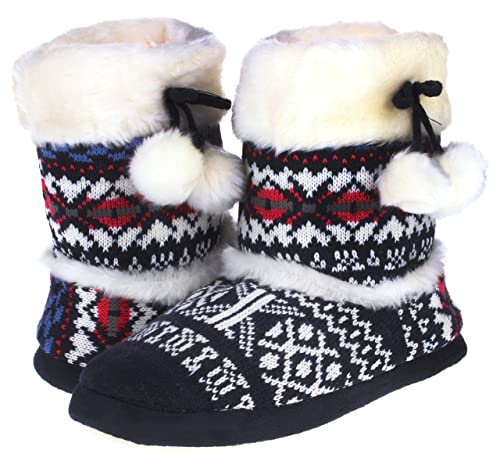 Enimay Women's Faux Knit Textile And Comfy Indoor Slipper Boots With Durable Soles