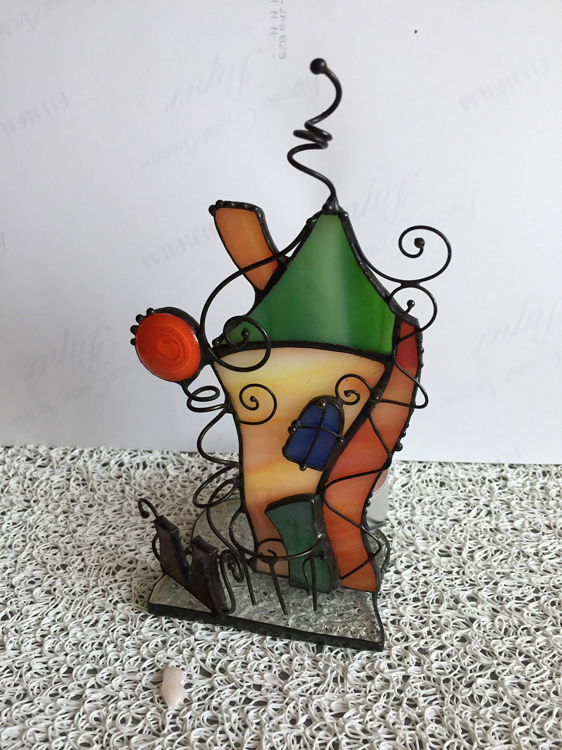 Christmas House New Year's House Candle Holder Artglass House Leprechauns Glass House Decor Tiffany Stained Glass Green Home Stained Glass Art Tiffany Glass Gift Handmade Art Thanksgiving Day Gifts