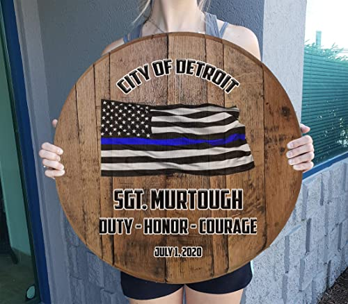 Rustic Wall decor Personalized Custom Thin Blue Line Flag Police Retirement Rustic Home decor Bar Sign Wall Art Gift Man Cave Wall Decor Natural Wood Brown 22 inch wall decor