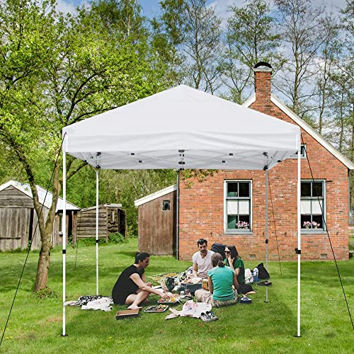 Instahibit 10×10' EZ Pop Up Canopy Tent Outdoor UV Protect Sunshade 1080D PVC Coated White Party Yard Instant Shelter