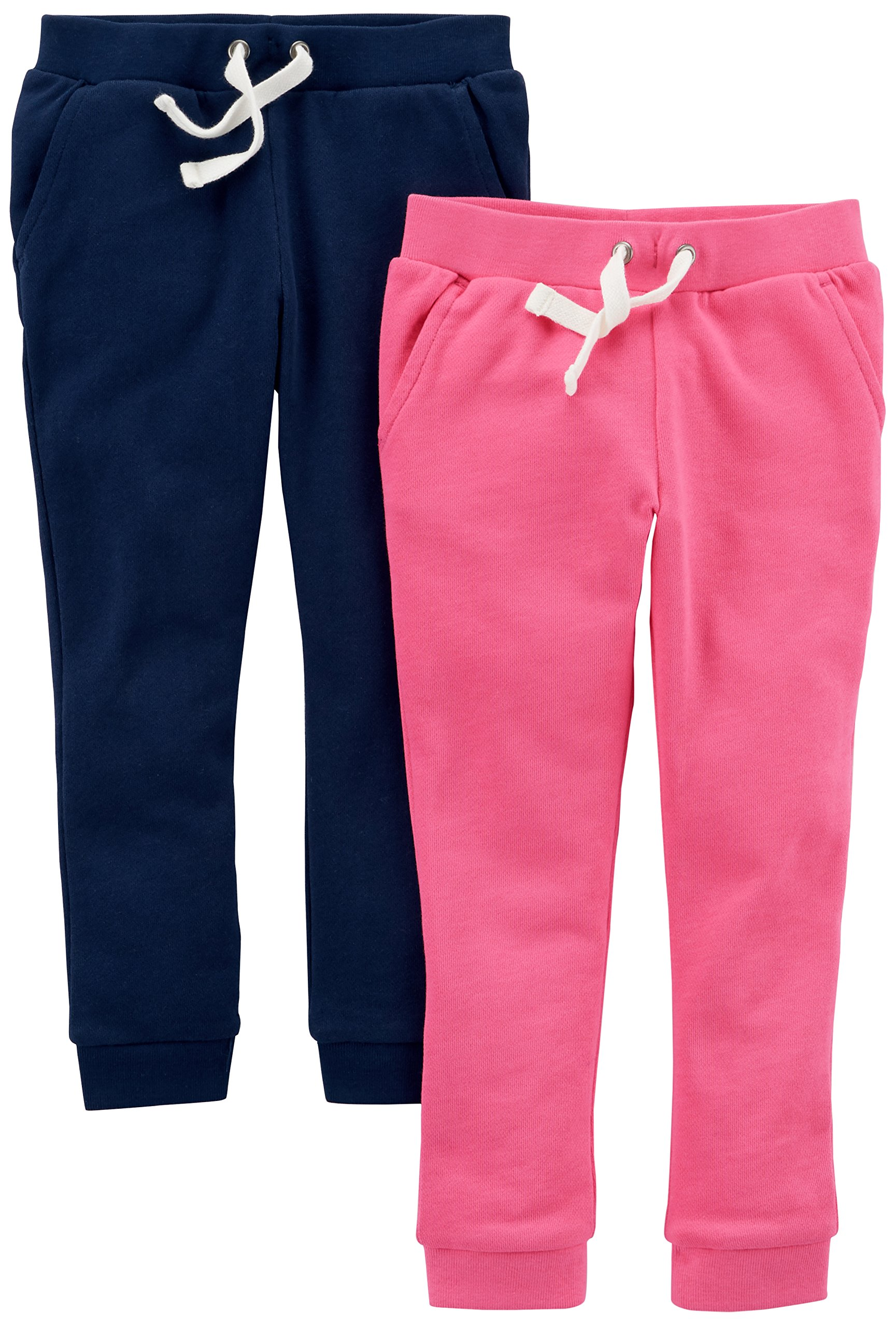 Carter's Big Girls' 2-Pack French Terry Jogger, Navy/Pink, 5