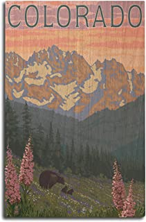 product image for Lantern Press Colorado - Bears and Spring Flowers (10x15 Wood Wall Sign, Wall Decor Ready to Hang)