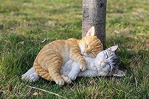 Hi- Line Gift 87757-K Orange & Grey Tabbies Cat Statue