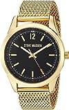 Steve Madden Men's Analog-Quartz Watch with Alloy Strap, Gold, 22.352 (Model: SMW068G
