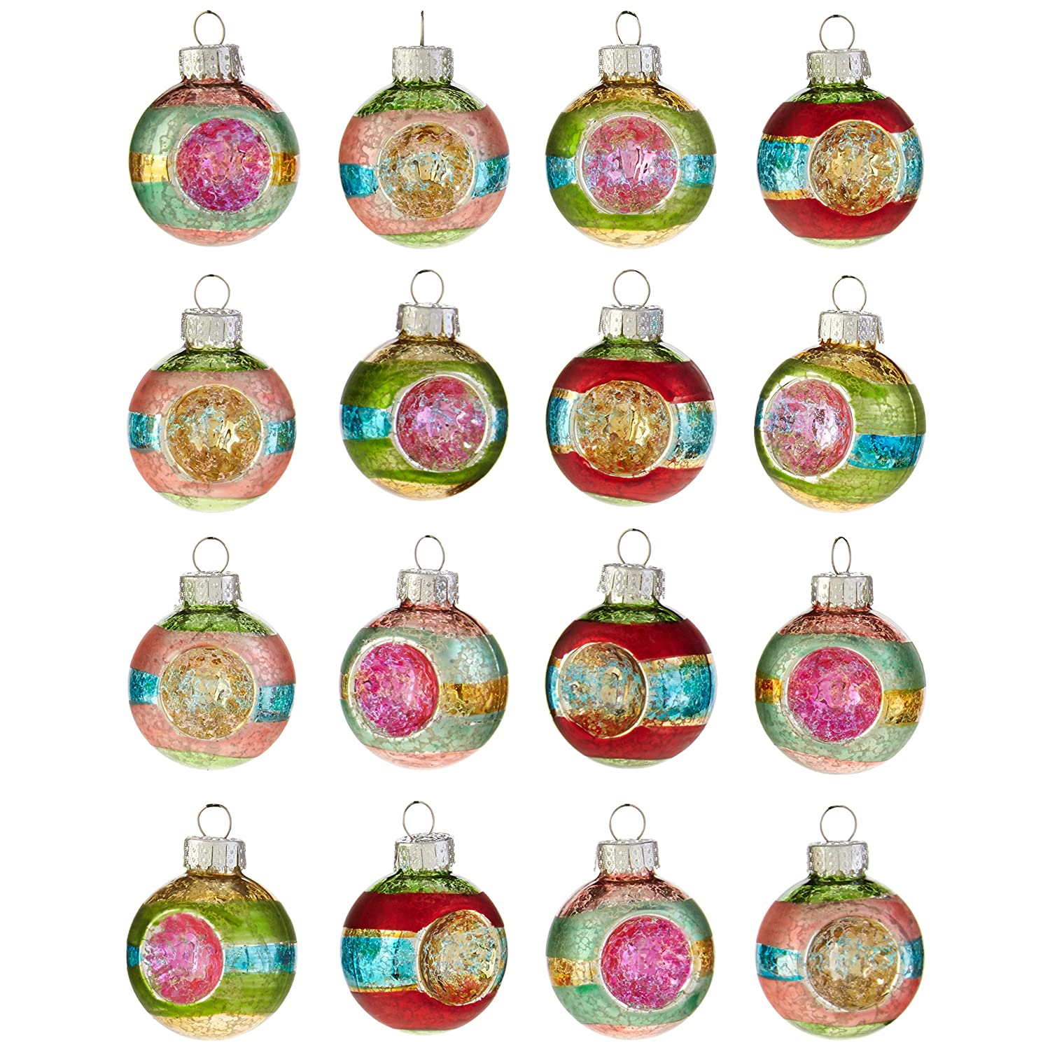 Raz Imports Vintage Ball Reflector Glass Christmas Ornaments Assorted Boxed Set Of 16