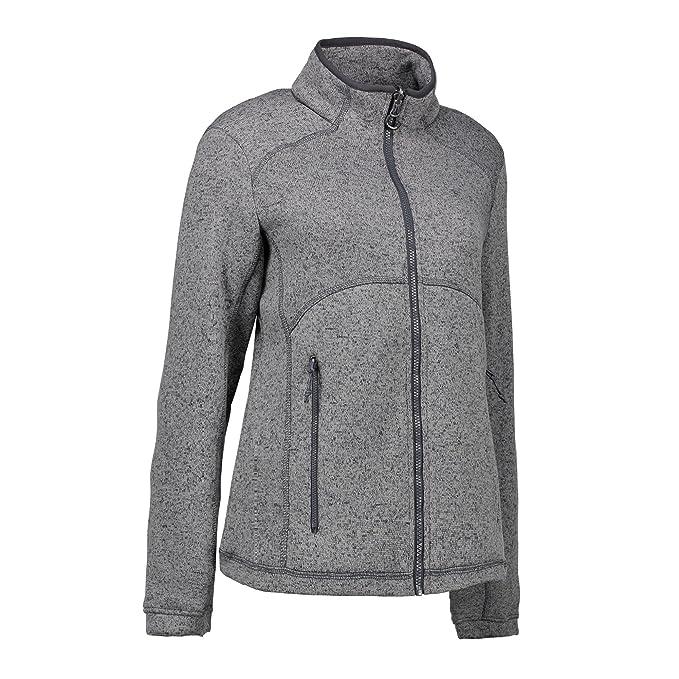 ID - Chaqueta de tejido polar jaspeado con cremallera modelo Zip N Mix para mujer (