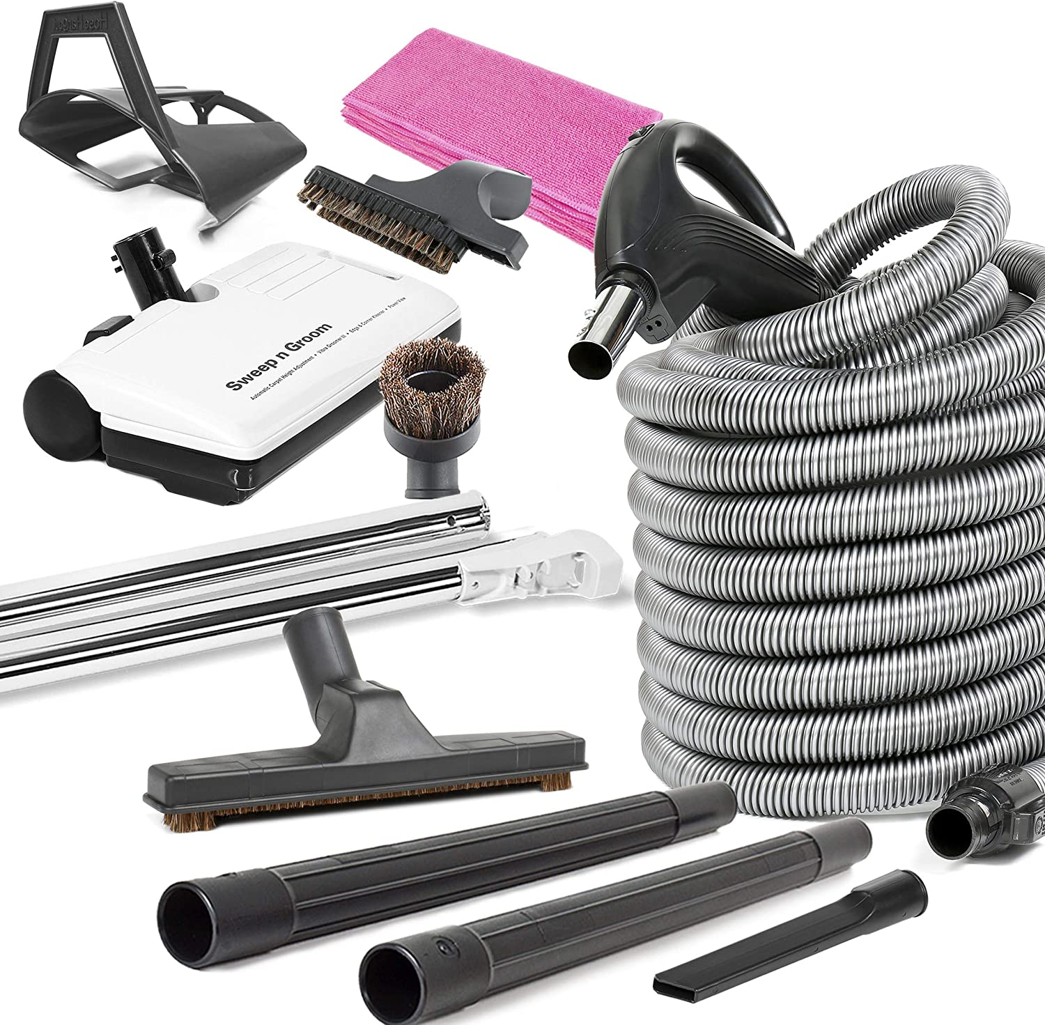 Beam Compatible 35/'ft Central Vacuum Electric Powerhead kit 2-way switched Hose!