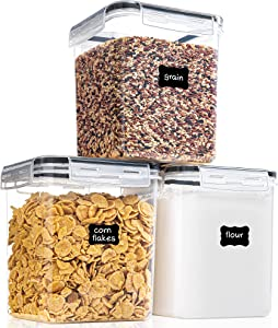 Medium Food Storage Containers with Lids Airtight 2.5L /84.54Oz, for Flour, Sugar, Baking Supply and Dry Food Storage, PantryStar 3PCS BPA Free Plastic Canisters for Kitchen Pantry Organization