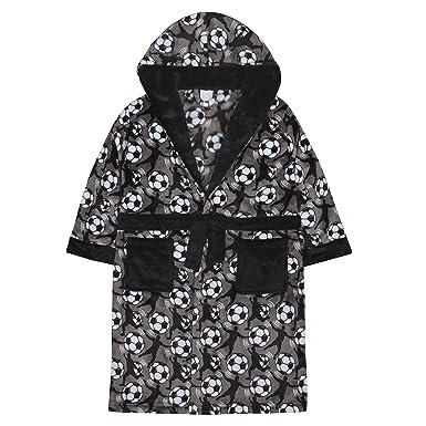 Amazon.com: 4Kidz Boys Plush Fleece Football Dressing Gown with Hood ...