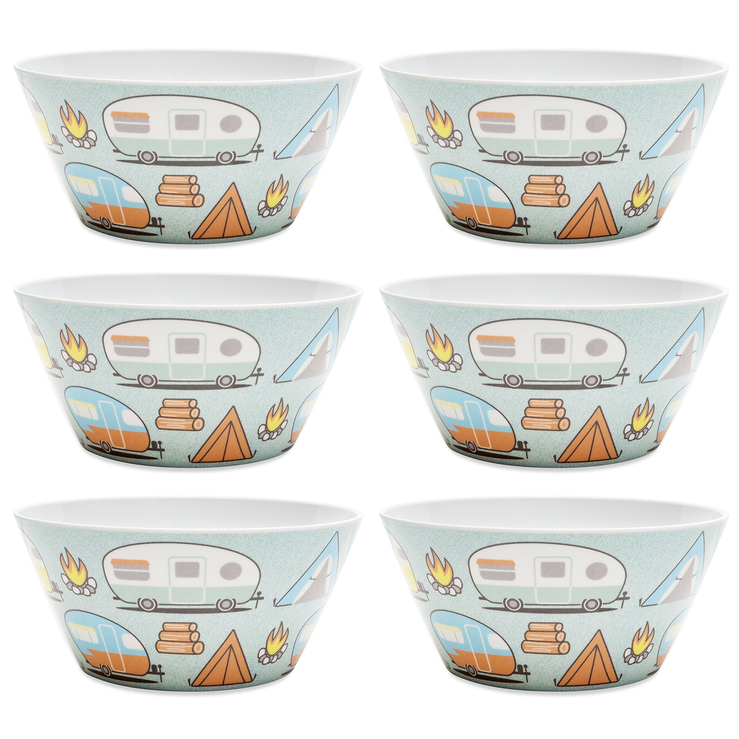 Zak Designs 6741-0321-ISET Adventurer 6-inch Plastic Soup Bowl (27 oz.), Tents & Trailers, 6-piece set