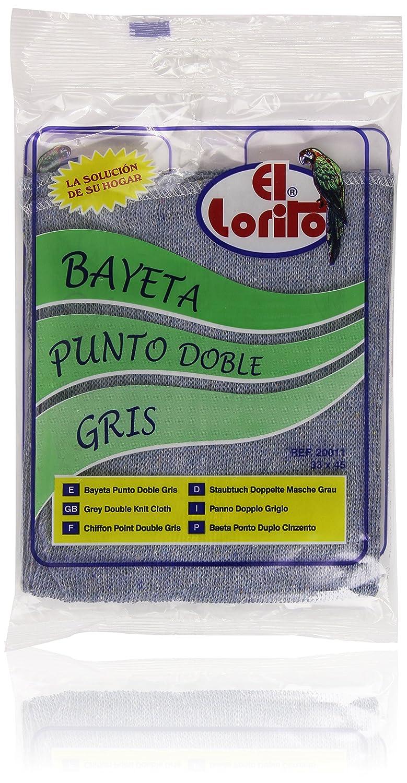 El Lorito 33 x 45 cm Bayeta punto doble gris