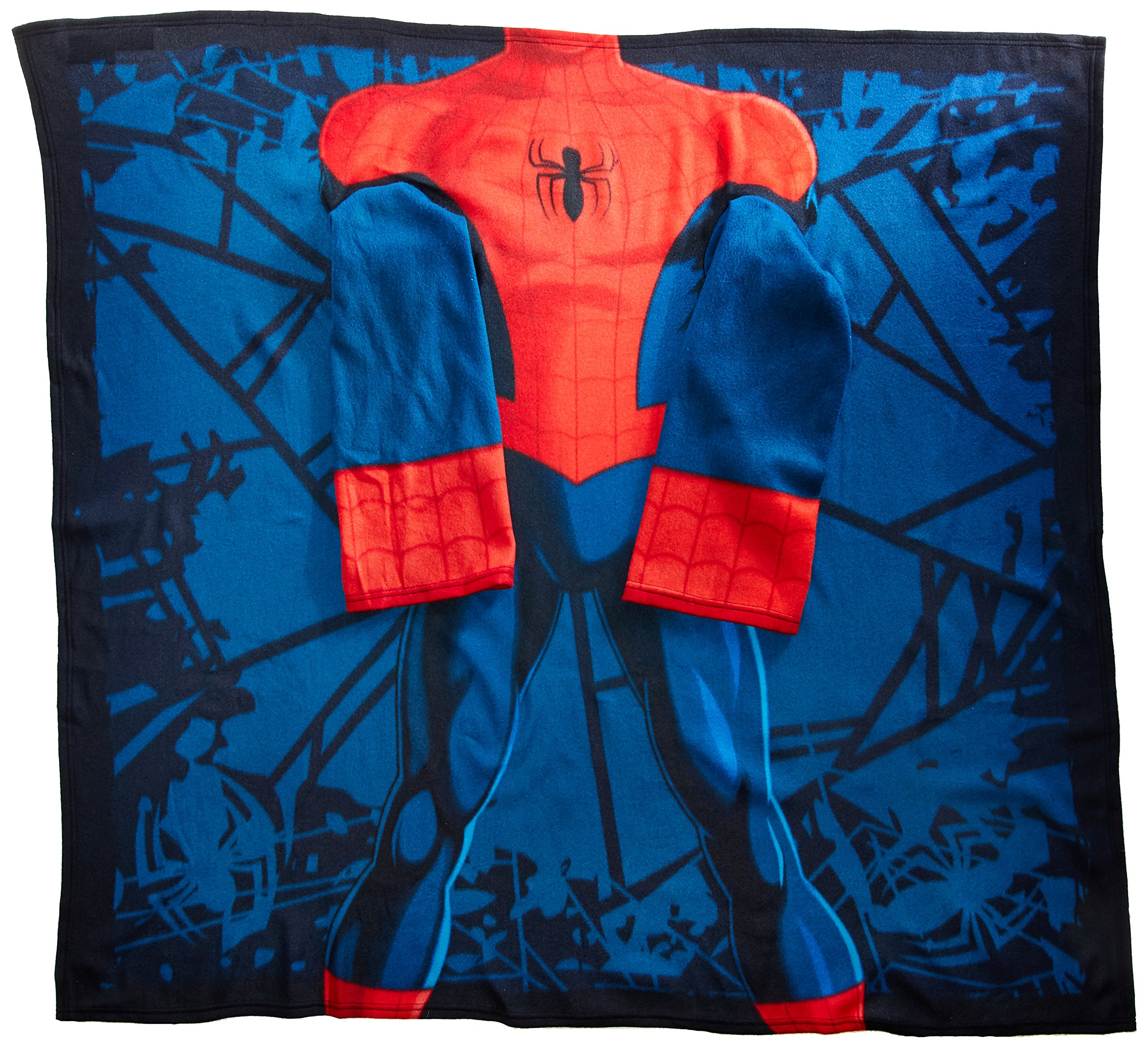 Marvel's Spider-Man, ''Spider Up'' Youth Comfy Throw Blanket with Sleeves, 48'' x 48'', Multi Color