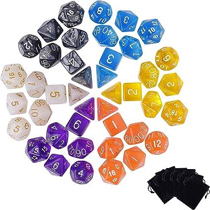 Comprar juego de mesa: QH-shop Poliédrico Dados 42 Piezas Dados de Juego de Solo Color para RPG Dungeons y Dragons Pathfinder con 6 Bolsas Negras