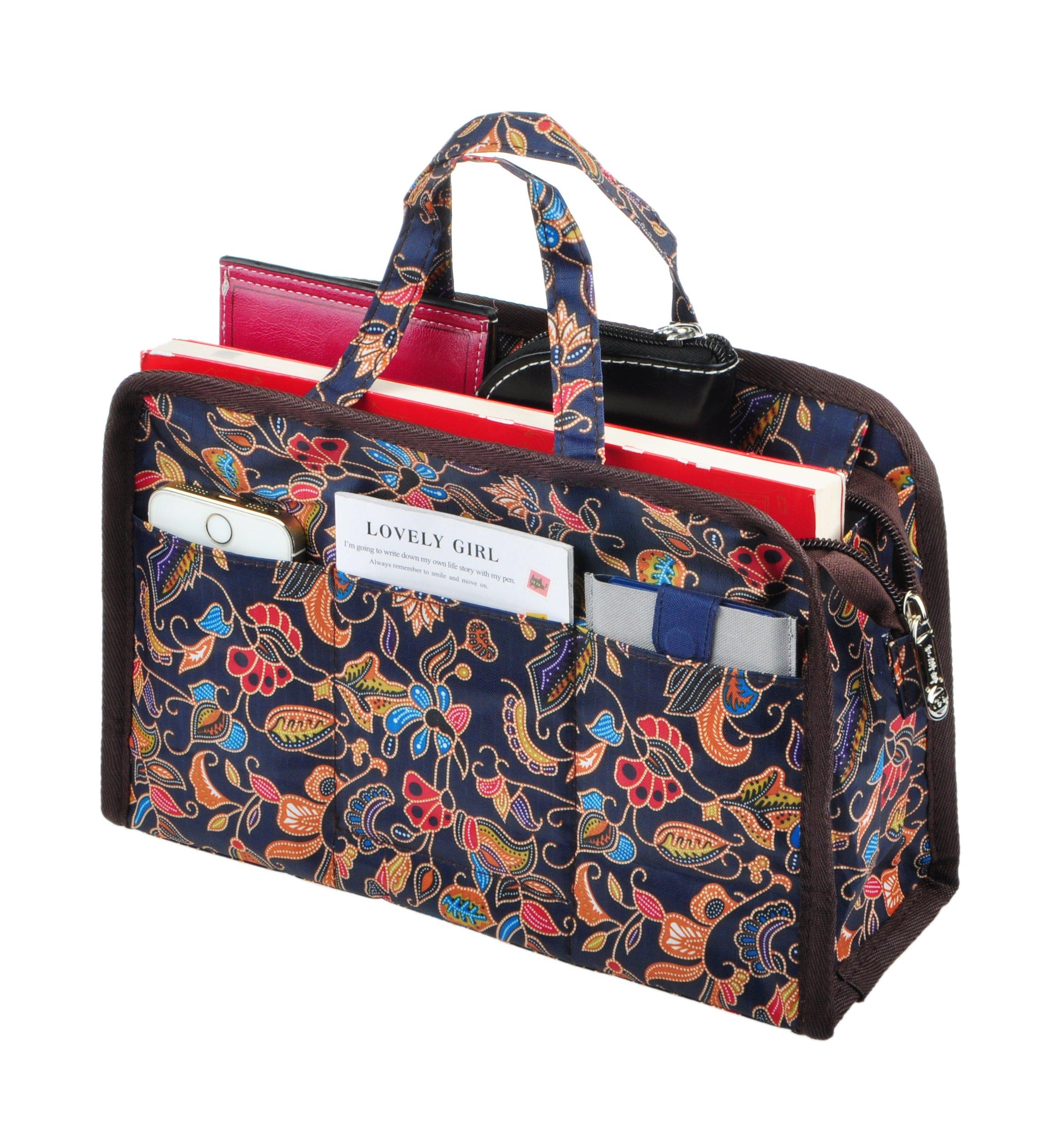 Vercord Sturdy Multi-Pocket Insert Handbag Bag Organizer Water-resistant Large Zipper Bag In Bag, Printed Handle