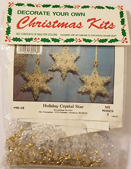 Amazon Com Holiday Crystal Star Beaded Christmas Ornament Craft Kit