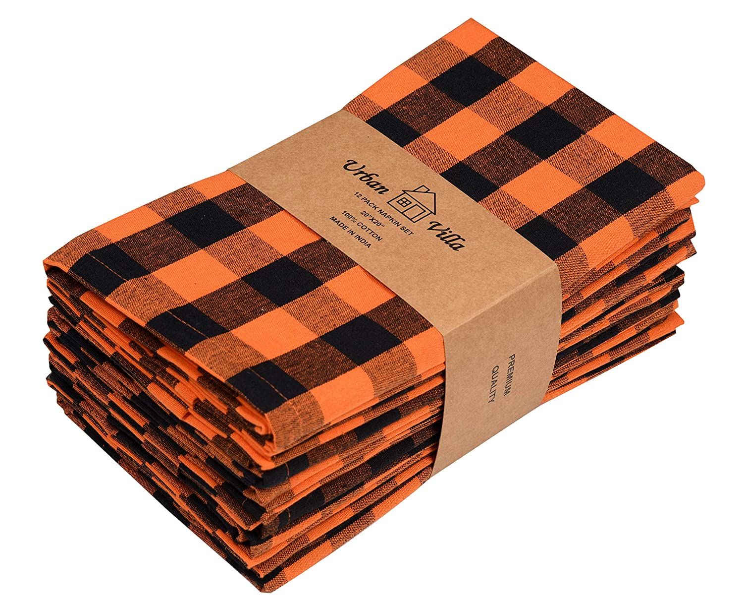 Urban Villa,Halloween Orange/Black set of12 Dinner Napkins,Everyday Use,Premium Quality,100% Cotton, Size 20x20 inches, Over sized Cloth Napkins with Mitered Corners, Ultra Soft, Durable Hotel Quality