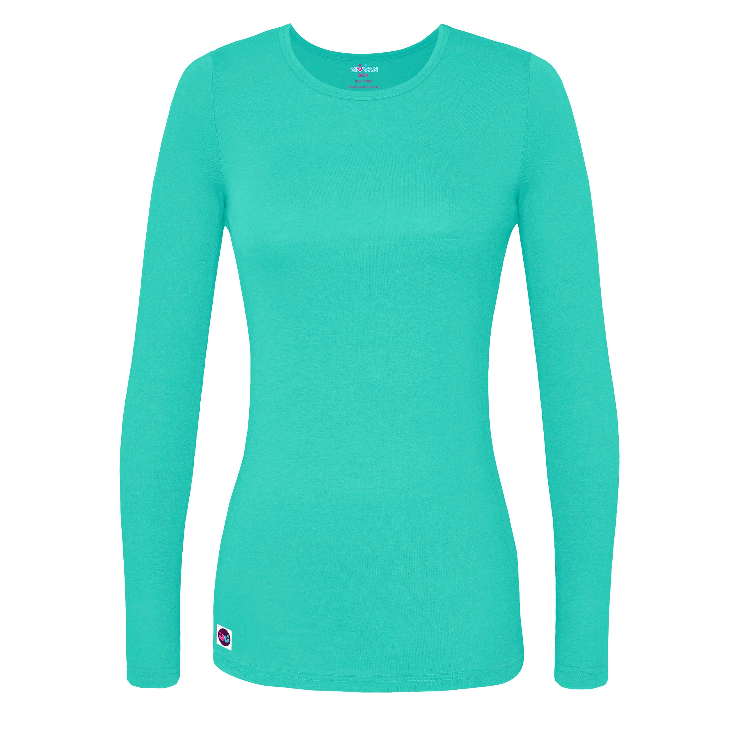 Sivvan Women's Comfort Long Sleeve T-Shirt / Underscrub Tee - S8500 - Sea Glass - M