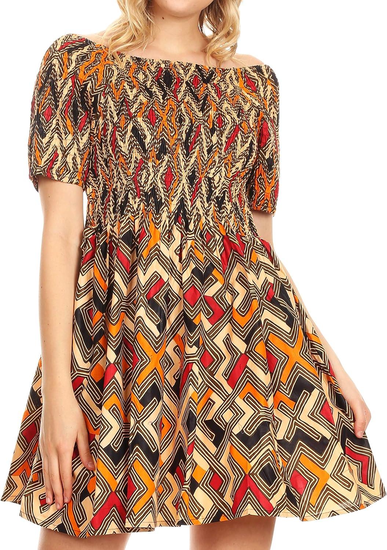 Sakkas IFE Wax African Ankara Colorful Cocktail Short Dress Off-Shoulder w//Pockets