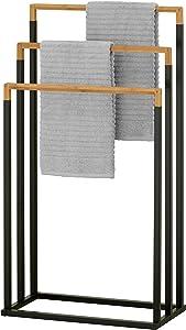 MyGift 3-Tier Black Metal and Bamboo Freestanding Towel Bar Rack