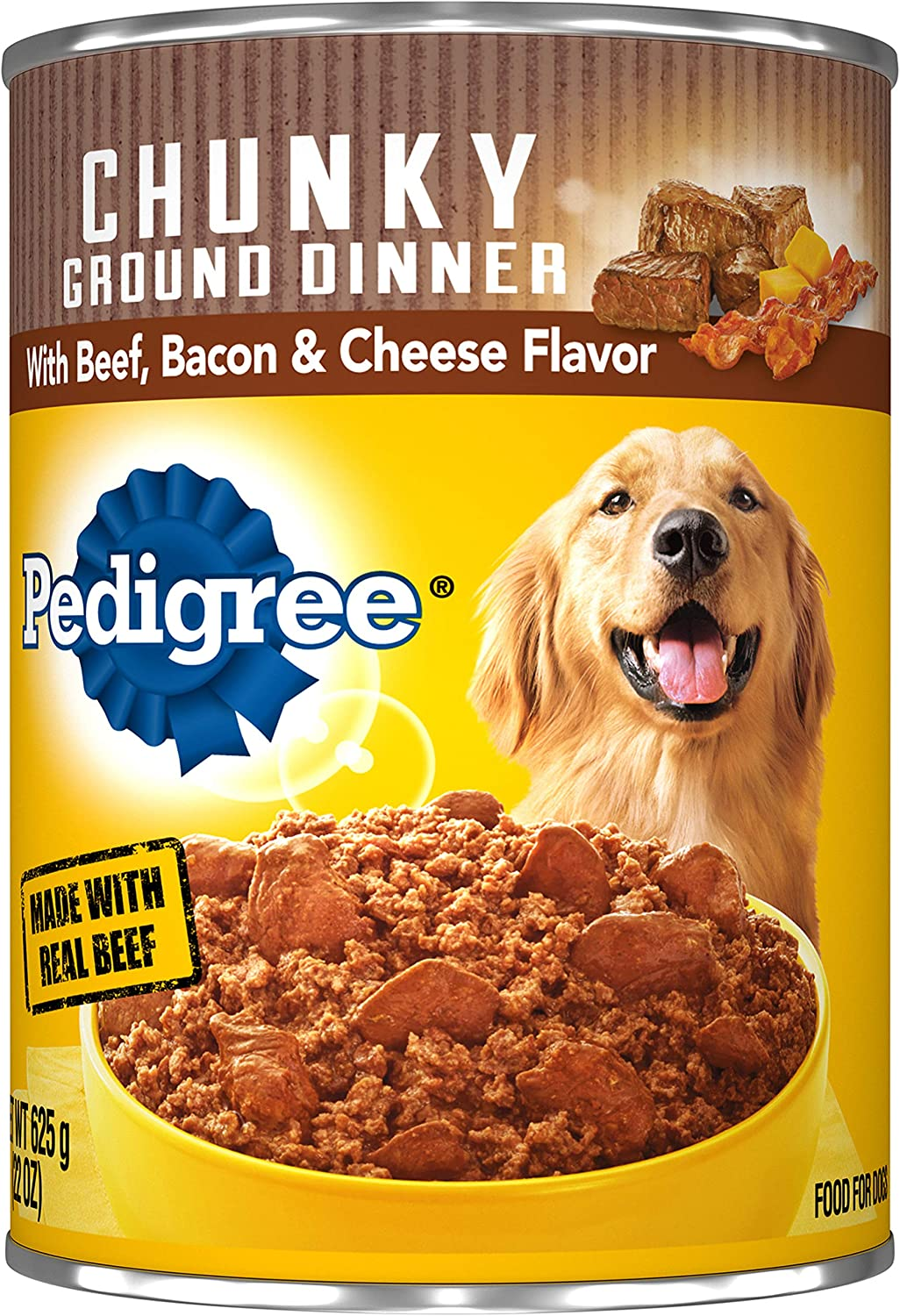 Pedigree Chunky Ground Dinner with Beef, Bacon & Cheese Canned Dog Food 22 oz