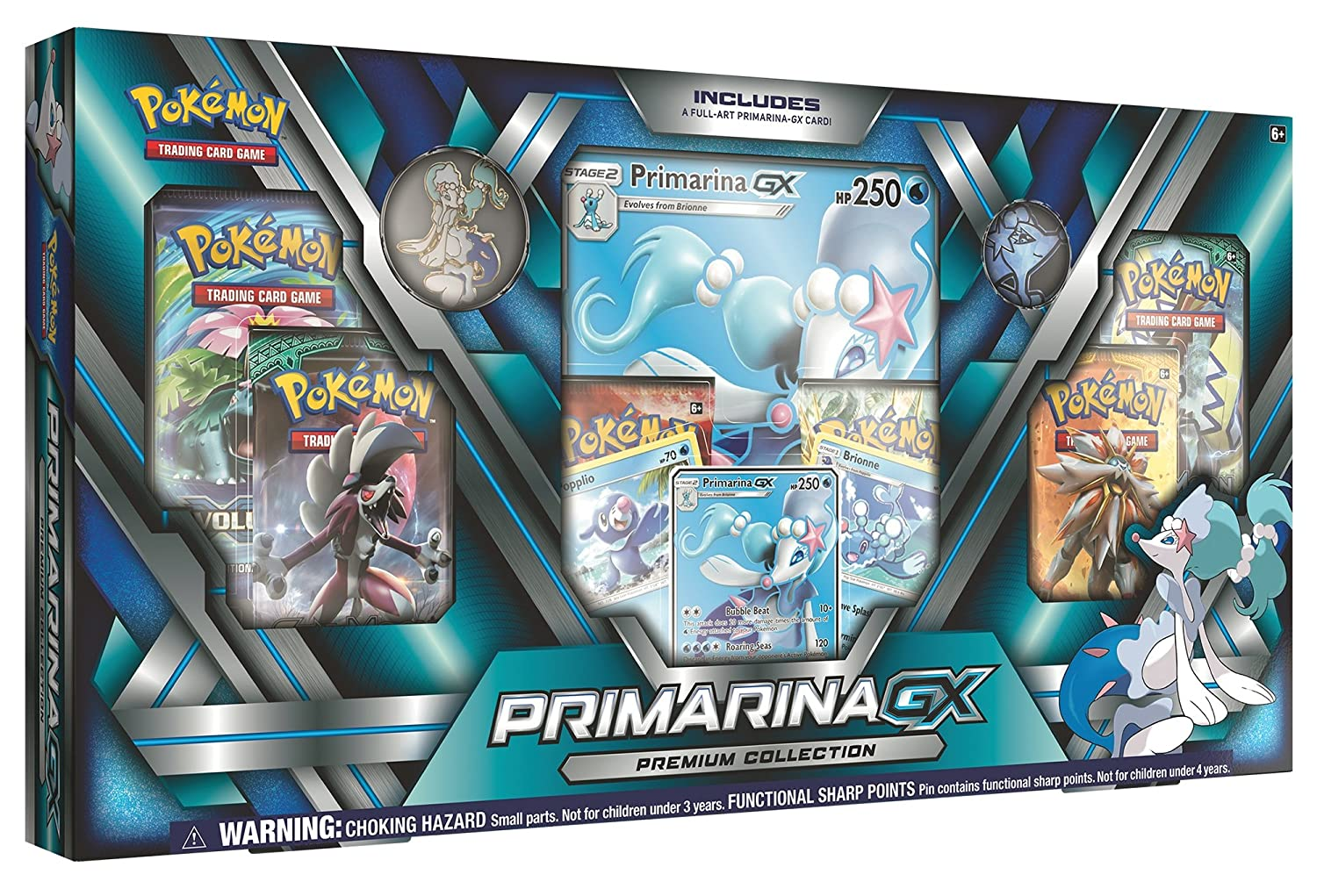 Pokemon TCG: Sun & Moon Guardians Rising, Primarina Premium GX Box Featuring A Specialty Pin