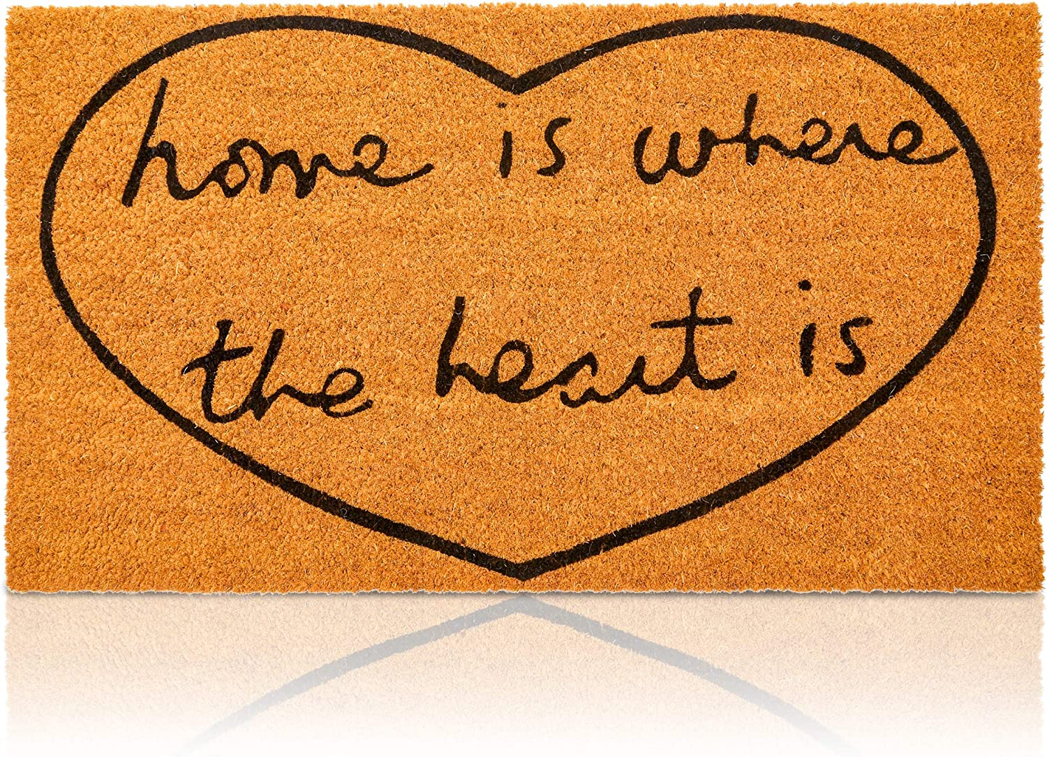 Heart Doormat, Home is Where The Heart is Mat (17 x 30 in., Natural Coir)