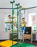 Vert aire de jeu pour enfant qui se connecte au sol intérieur &/de plafond pour entraînement de Sport gymnastique avec accessoires : équipement Trapèze barre, corde, monte, corde, échelle anneaux Olympe/de gymnastique