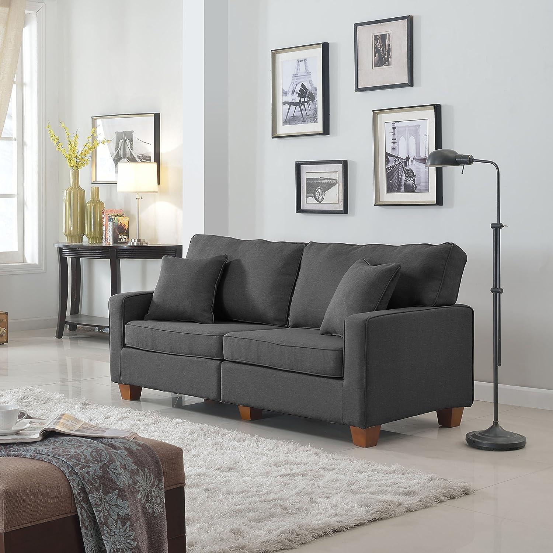 Classic 73-inch Love Seat Living Room Linen Fabric Sofa (Dark Grey)
