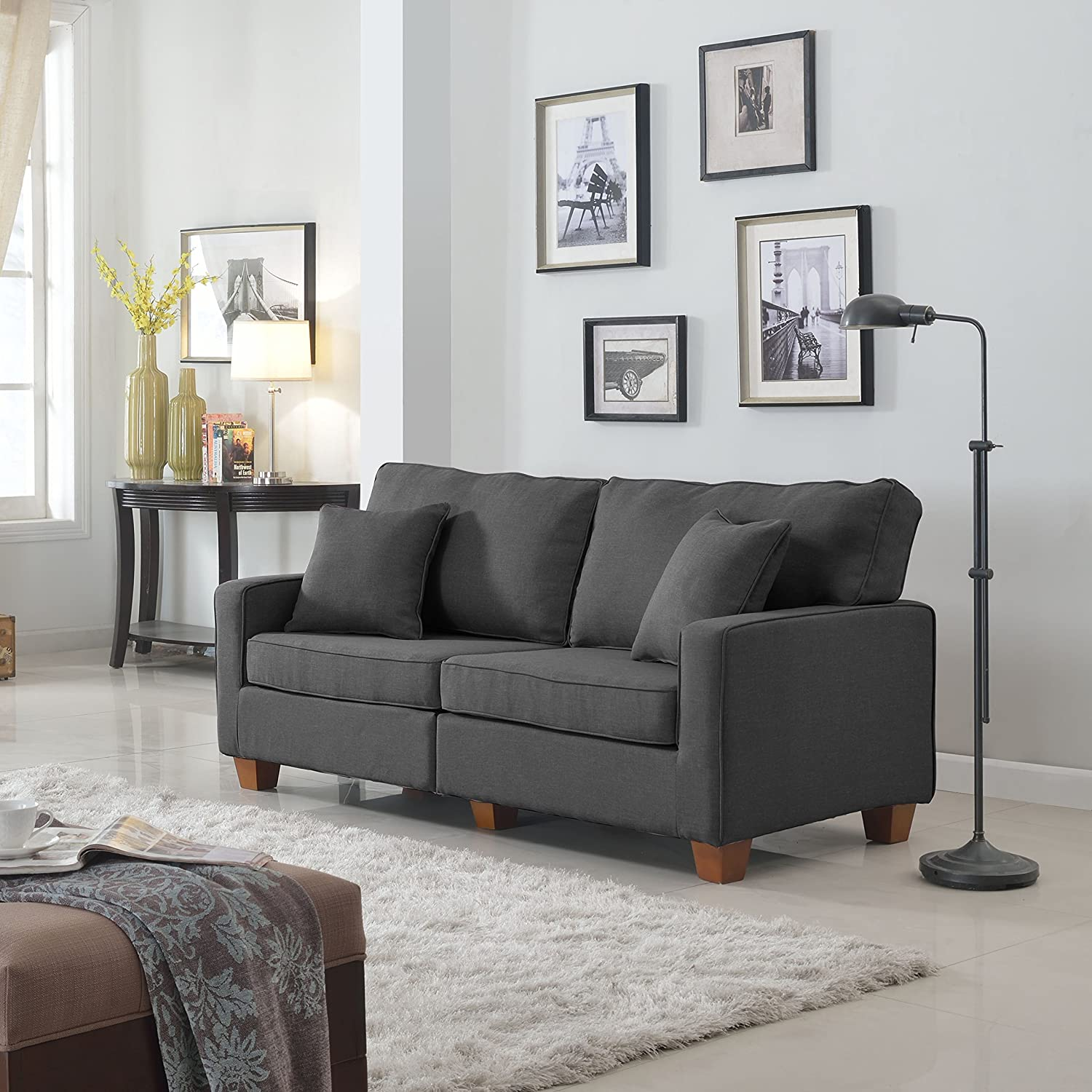 DIVANO ROMA FURNITURE Classic 73-inch Love Seat Living Room Linen Fabric  Sofa (Dark Grey)