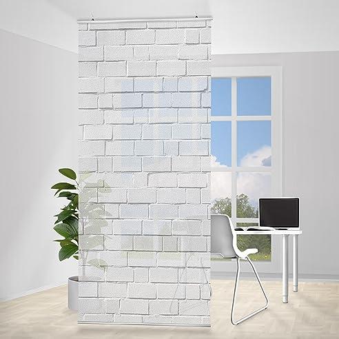flchenvorhang set white stonewall 250x120cm schiebegardine schiebevorhang raumtrenner vorhang raumteiler - Raumtrennvorhnge
