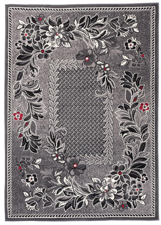 Carpeto Klassisch Teppich Grau 200 x 300 cm Blumen Muster Kurzflor Monaco Kollektion