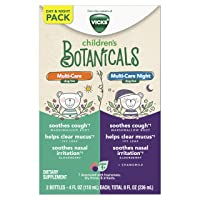 Vicks Children's Botanicals, Day & Night Twin Pack, Elderberry Syrup to Soothe Nasal Irritation, Marshmallow Root to Soothe Cough, Ivy Leaf to Help Clear Mucus, Drug-Free 4 FL OZ Day/4 FL OZ Night