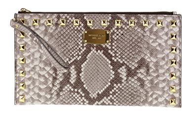 741da9c76a36 Michael Kors Saffiano Embossed Leather Studded Zip Clutch Wristlet Handbag (Dark  Sand)