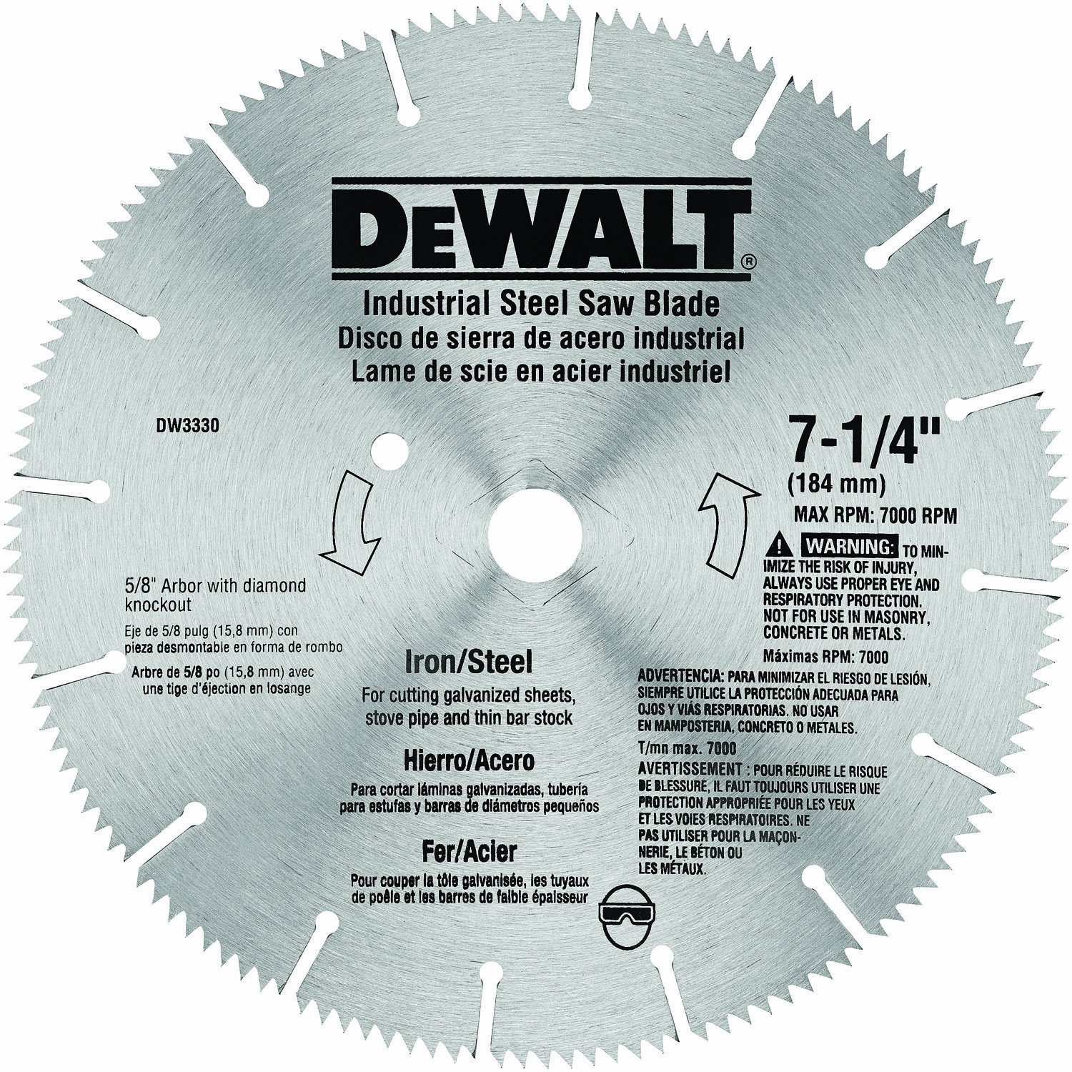 Dewalt dw3330 7 14 inch iron and steel cutting segmented saw blade dewalt dw3330 7 14 inch iron and steel cutting segmented saw blade with 58 inch and diamond knockout arbor circular saw blades amazon keyboard keysfo Images