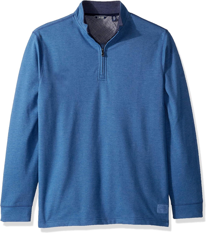 IZOD Mens Nauset Button Mock Neck Light Fleece Pullover